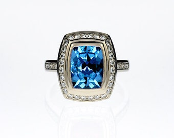 Cushion cut swiss blue topaz halo engagement ring with diamonds, halo engagement ring, blue engagement, topaz ring, bezel, unique