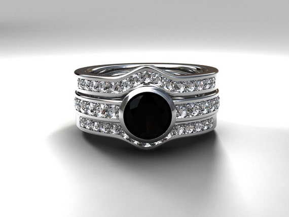 Black spinel engagement ring set with two diamond bands bezel