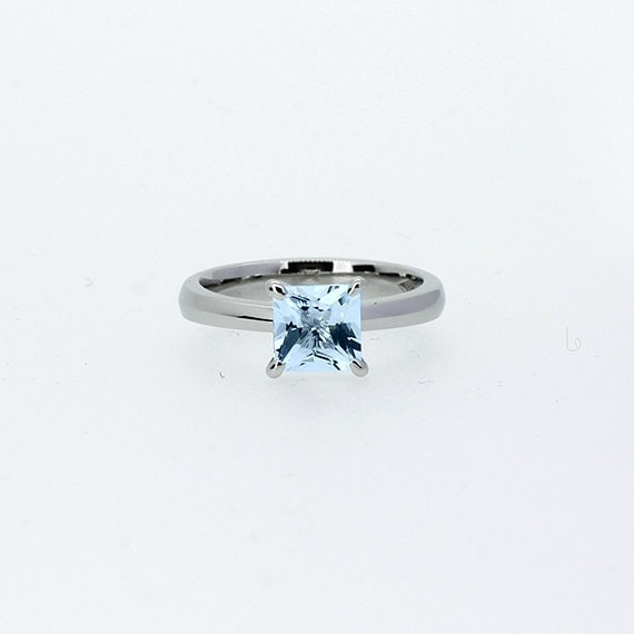 princess cut sky blue topaz ring white gold engagement ring
