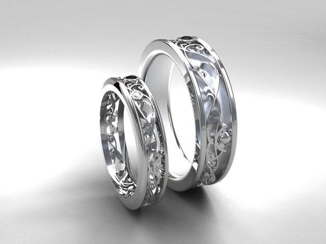 Filigree Wedding Band Set White Gold Black Diamond Wedding