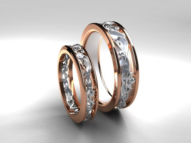 Wedding Band Set Rose Gold White Diamond