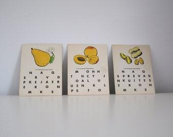SALE Vintage flashcards Growing Foods spelling cards