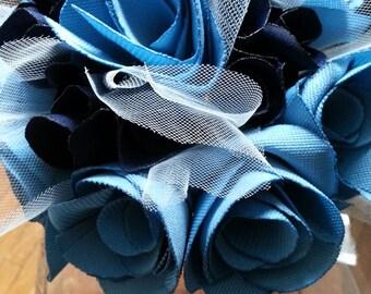 Blue Fabric Rose Bouquet