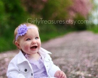 Lavender Shabby Headband. Baby Headband. Girl Headband. Newborn Headband. Toddler Headband. Photo Prop. Flower Headband.