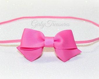 Dainty Hot Pink Bow Headband. baby Headband. Girl Headband. Newbrn Headband. Photo Prop.