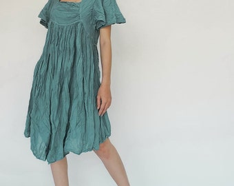 NO.9 Aqua Cotton Bell Sleeves Tunic Dress, Day Dress