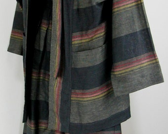 Vtg 80s Linen Cotton Jacket & Skirt / Suit Dress high-waisted - big pockets  sz 40
