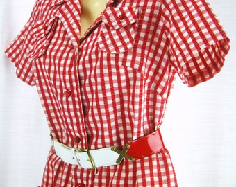 Vintage 60's – 70's Red and White Check Shirtwaist Dress with Belt ~ pockets ~ round buttons
