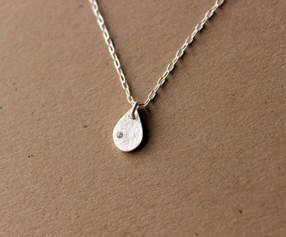 TINY Fine Silver Teardrop Waterdrop Necklace - Silver Necklace - Handmade Jewelry - Tear - Drop - Water Drop - Tiny - Everyday Jewelry