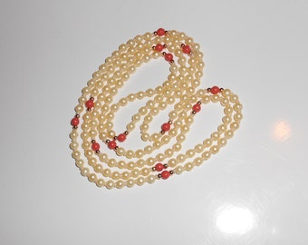 vintage necklace fashion pearls and coral beads dainty minimilistic necklace Free USA Shipping