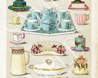Mrs Beetons Teapots Aged Vintage Cookbook Printable Image Download Illustrated Cookbook Page