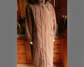 Vintage 80s 90s J.G. Hook Brown Insulated Long midi Fox Tail Fur Hood Overcoat Coat Jacket M