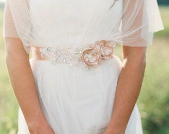 Bridal Gown Flower Sash, Bridal Champagne Beaded Sash, Wedding Champagne Sash, Bridal Sash {Adaline}