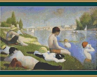 Bathers At Asnieres Cross Stitch Pattern