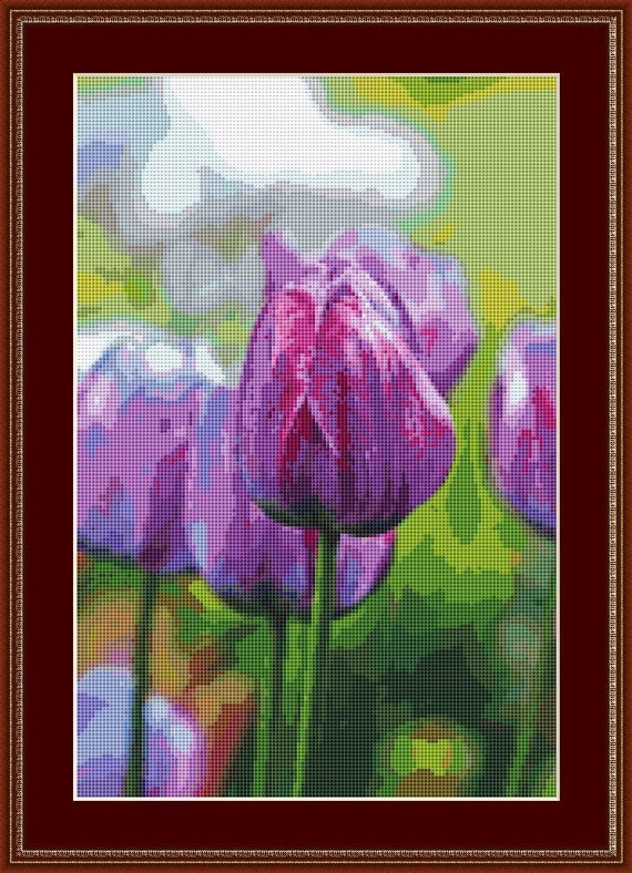 Purple Tulips Cross Stitch Pattern /Digital PDF Files /Instant downloadable