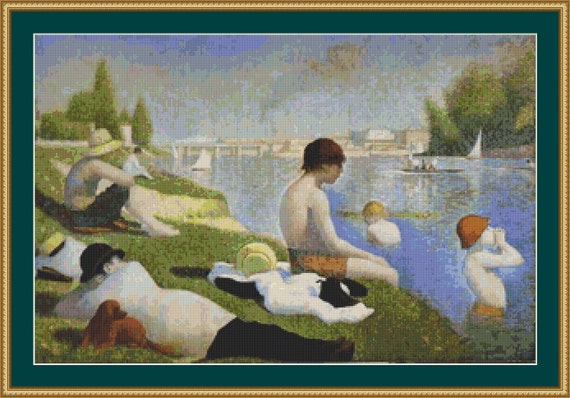 Bathers At Asnieres Cross Stitch Pattern /Digital PDF Files /Instant downloadable