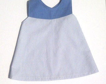OOAK Baby Dress NB- 3M. Pinstripe Blue and White