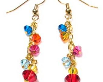 Swarovski Crystal Earrings. Multi-Colored Fun!