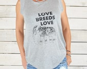 Love Breeds Love with Elephant  -  Grey Muscle Graphic Tee Shirt
