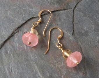 Delicate Watermelon Quartz Dangle Earrings w Natural Citrine on Gold Ear Wires, Handmade