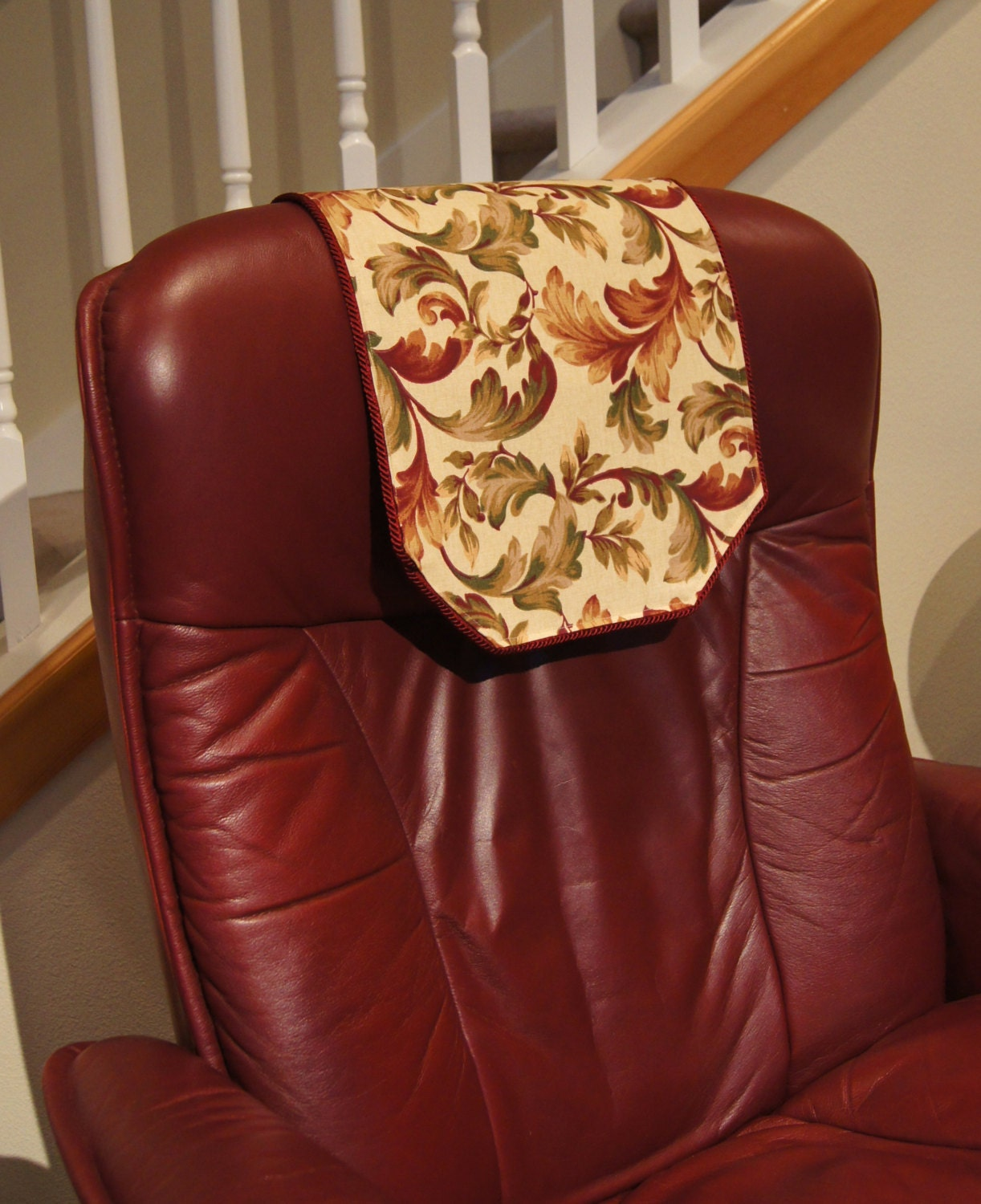 Recliner Chair Headrest Cover Burgundy Floral Chair By