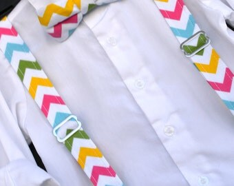Easter Chevron Bowtie, Boys Easter Chevron Suspenders, Childs Easter Outfit, Toddler chevron bow tie, baby easter outfit, childs bow tie