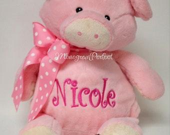 "Personalized Pink Pig 16"" Stuffed Animal"