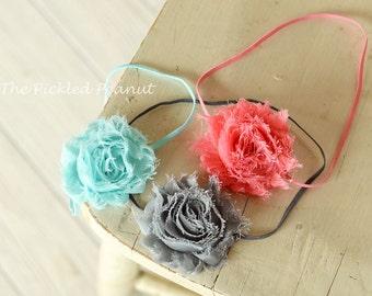 1 ~ Baby Headband Baby Bow Baby Hair Bow Baby Hairbow Newborn Headband Headband for Babies Baby Girl Shabby Chic Pink Bow Aqua Bow