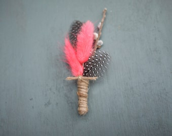 Neon pink Hares Tail and Guinea feather Rustic Wedding Grooms Boutonierre
