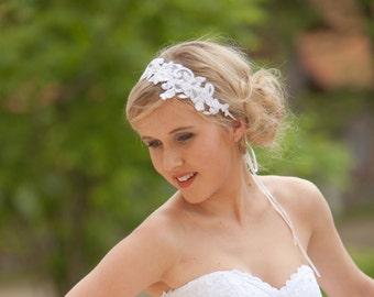 Lace headband, Bridal headband, Flower headband, Wedding headband, Wedding hair accessories