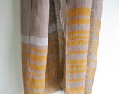 Natural Gallnut dyed earth color horizontal-striped Linen scarf