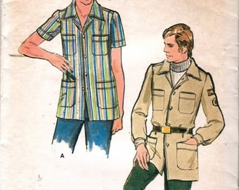 "Vintage 1970's Butterick 6563 Men's Patch Pocket Shirt or Jacket Sewing Pattern Size 36 Chest 36"" UNCUT"