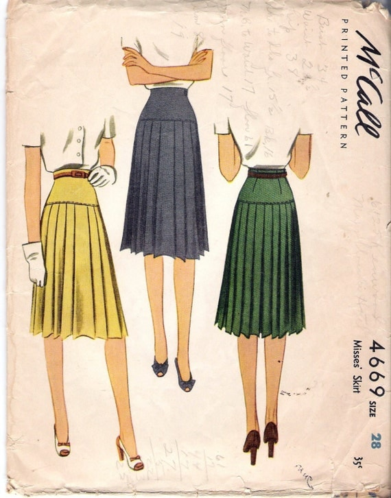 vintage 1942 mccall 4669 pleated skirt sewing pattern size
