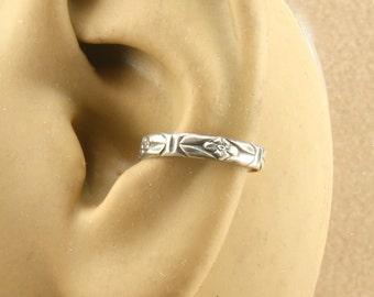 Ear Cuff, Cartilage Earring, Sterling Silver, Southwest Flower Pattern, Ear Band, Cartilage Cuff, Non Pierced, Gift Under 10