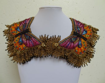 Byzantine Butterfly Collar, Beaded Embroidery, Reversable Necklace