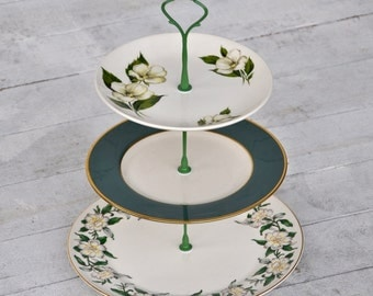 Georgia: Cake Stand, White Floral and Green, Crisp Wedding Decor, Southern Charm Cupcake Tier, White and Teal