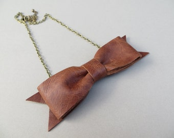 Bow Tie Necklace Handmade Using Soft Brown Leather