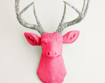 Faux Deer Head - The Hyacinth - Pink W/ Silver Glitter Antlers Resin Deer Head Mount - Stag Resin by White Faux Taxidermy Animal Wall Decor