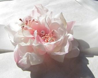 Silk Flower Bridal Sash. Wedding Flowers Sash Belt. Pure Silk Flower Wedding Sash