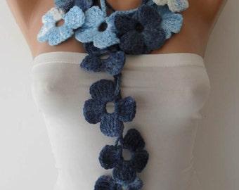 Winter Chic - Handknit flowered scarf -  Blue scarf