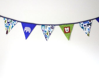 Zoo bunting, blue green fabric bunting, childs room decor, animal banner, sale