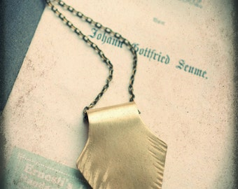Raw brass arrowhead protection amulet, hammered detail, highly polished, long layering necklace