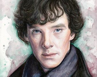 Sherlock Holmes Portrait Watercolor Painting, Sherlock Print, Sherlock Art, Giclee Art Print, Benedict Cumberbatch, Sherlocked, TV Show