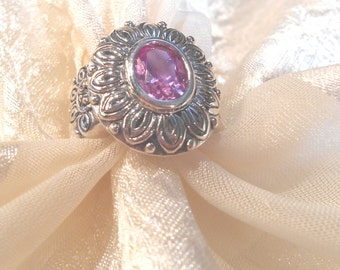 Pink Sapphire Flower Ring in Sterling Silver