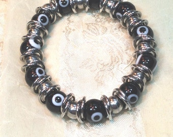 Jingling Evil Eye Bracelet Black & White Handmade Jewelry