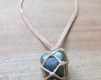 handmade macrame labradorite crystal necklace in cream