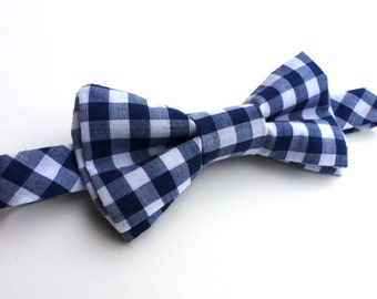 Navy blue and white gingham double layer bow tie- Sizes newborn-adult