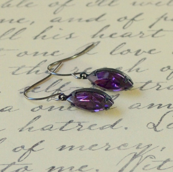 Amethyst drop finding jewelry rhinestone vintage