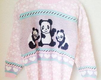 Pastel Grunge Panda Sweater 1990s Deadstock Size M