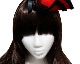 Red with Black Pleated Satin Ribbon Mini Tricorn Pirate Hat - Made to Order